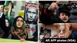 A g., des manifestants anti-Russie en Turquie, à d., des manifestants anti-Turquie en Russie. 25 novembre 2015. (AP, AFP)