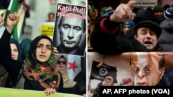 At left, Turkish protesters shout anti-Russia slogans during a protest in Istanbul, Turkey, Nov. 27, 2015. A protester shouts slogans during a demonstration in front of the Turkish embassy in Moscow, Nov. 25, 2015. (AP, AFP)