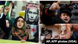 A la izquierda, manifestantes turcos protestan contra Rusia en Estambul. Nov. 17 de 2015. A la derecha, en Moscú un manifestante protesta frente a la embajada de Turquía. Nov. 25 de 2015.