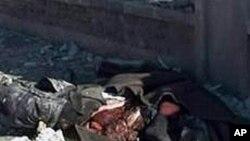 10일 시리아 관영 텔레비전이 공개한 알레포 희생자들의 사체