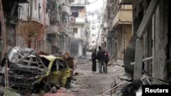 Civili u Homsu, 27. januar, 2014.