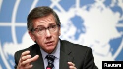 U-N secretary-general to Libya envoy Bernardino Leon talked to reporters after January 14 negotiation between some of the militias and officials of the divided country.