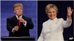 Democratic presidential nominee Hillary Clinton and Republican presidential nominee Donald Trump begin their third presidential debate at UNLV in Las Vegas, Oct. 19, 2016.
