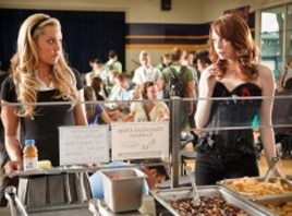 "Amanda Bynes as ""Marianne"" and Emma Stone as ""Olive Penderghast"" in Screen Gem's EASY A."