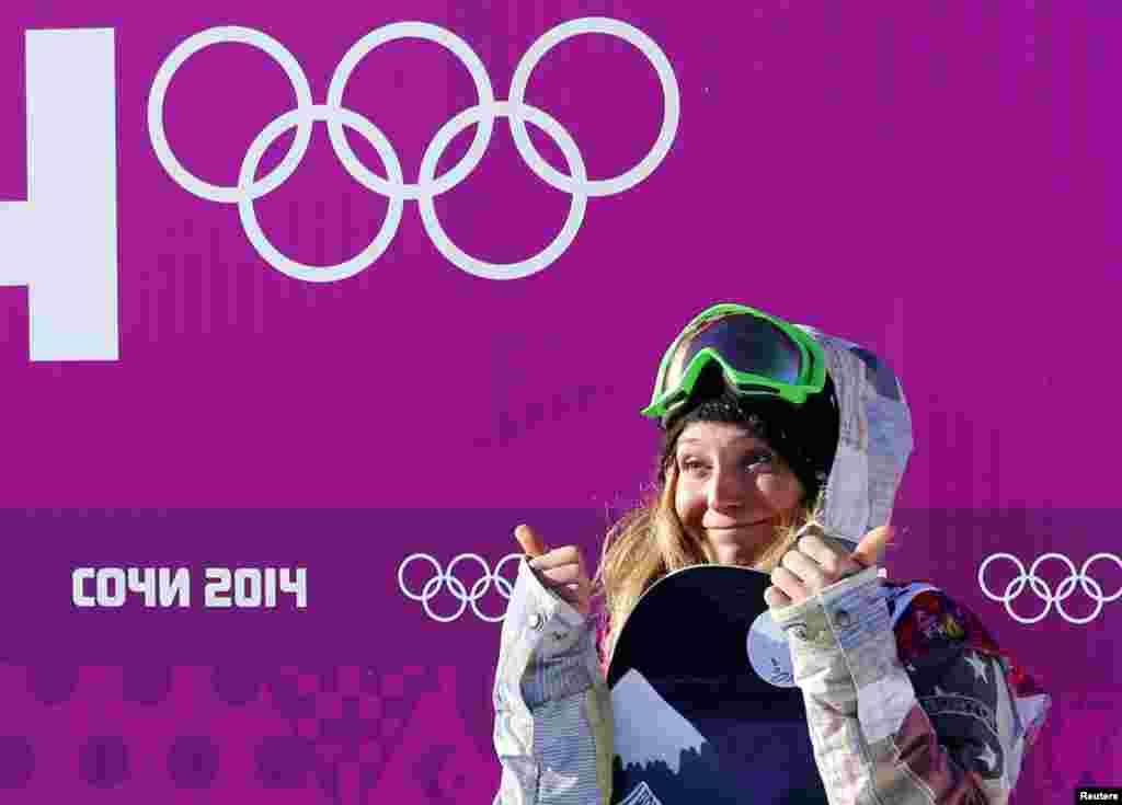 Jamie Anderson of the U.S. gestures at the finish line during the women's snowboard slopestyle qualifying session at the 2014 Sochi Olympic Games, Feb. 6, 2014.
