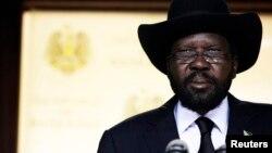 10일 남수단 수도 주바에서 연설 중인 살바 키르 남수단 대통령.