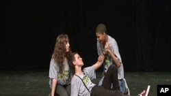 Students from the Washington, DC, area act in a production at the Arena Stage, one of the center's many community-outreach programs that expose young people to the arts
