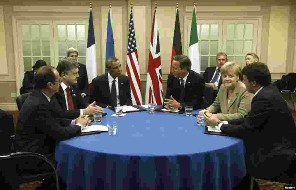 French President Francois Hollande, Ukraine President Petro Poroshenko, U.S. President Barack Obama, British Prime Minister David Cameron, German Chancellor Angela Merkel and Italian Prime Minister Matteo Renzi meet on the situation in Ukraine.