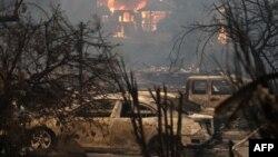 加州格伦·艾伦的一处住宅被于失的野火吞噬。(2017年10月9日)