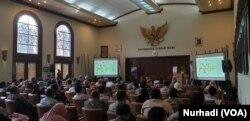 Pertemuan pegiat kebencanaan berbagai daerah di UGM Yogyakarta, 23 Juli 2019. (Foto:VOA/Nurhadi)