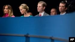 FILE - From left, Melania Trump, Ivanka Trump, Eric Trump, and Donald Trump, Jr., the family of Republican President-elect Donald Trump