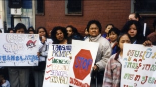 Cambodian refugees protested in the streets demanding better treatment and public services including interpretation service, in the Northwest Bronx, in late 1990s. (Courtesy photo of Chhaya Chhoum)