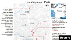 Aquí fueron los ataques en París.