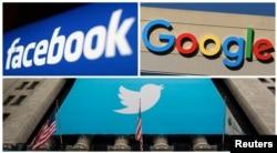 Logo Facebook, Google dan Twitter. (Foto:Reuters)
