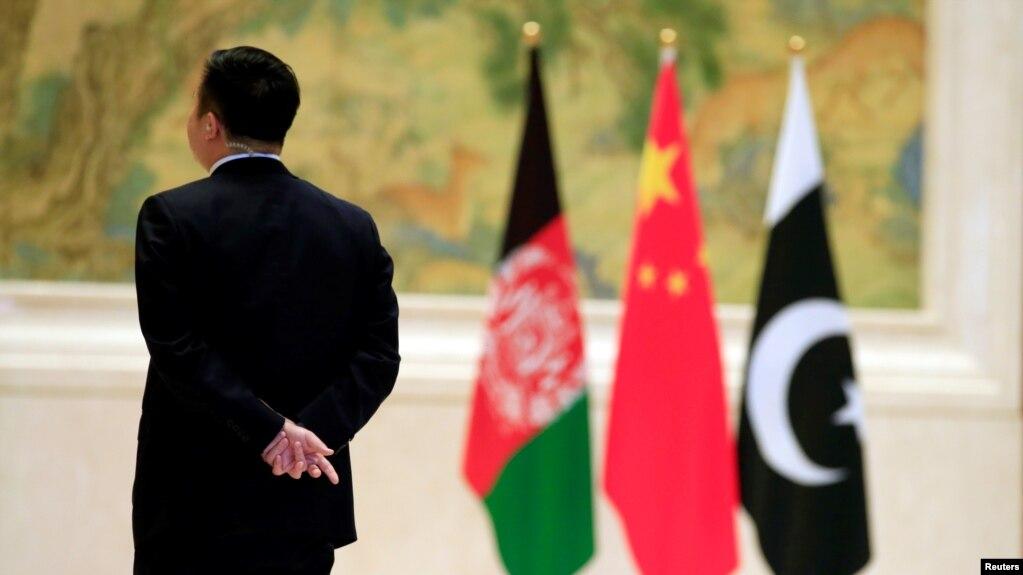 2017年12月26日在北京舉行中國、阿富汗和巴基斯坦三國外長會談時的會場。