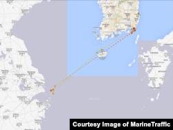 카트린 호가 2월 한국 당국에 억류되기 직전인 지난해 12월부터 올해 1월 사이 항적. 상하이 앞바다에 한 달 넘게 머물다 부산으로 향하는 모습이 포착됐다. MarineTraffic 제공.