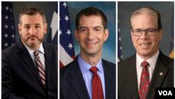 از راست سناتور براون، کاتن و کروز.