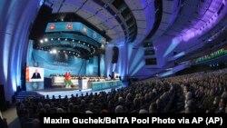 白俄罗斯总统卢卡申科2021年2月11日在议会发表讲(美联社)