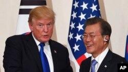 Shugaban Amurka Donald Trump da shugaban Koriya ta Kudu Moon Jae-In