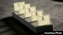This five-cell metamaterial array developed by Duke engineers converts stray microwave energy, as from a WiFi hub, into more than 7 volts of electricity with an efficiency of 36.8 percent—comparable to a solar cell. (Duke)