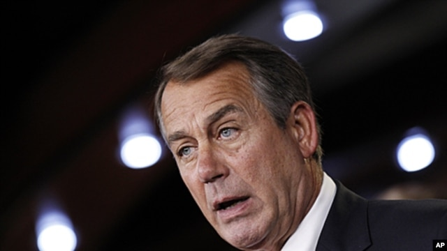 House Speaker John Boehner of Ohio speaks to reporters on Capitol Hill in Washington, June 16, 2011 (file photo)