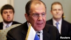 Russia's Foreign Minister Sergei Lavrov (C) meets with Egypt's Foreign Minister Nabil Fahmy (not pictured) in Cairo, Nov. 14, 2013.