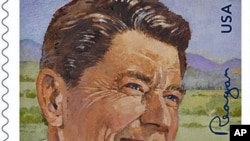 This image provided by the US Postal Service shows the Forever postage stamp honoring former President Ronald Reagan, which was released February 10, 2011
