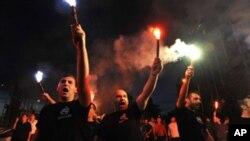 Protesto de imigrantes em Atenas