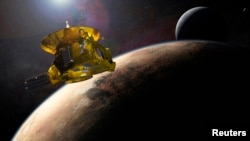 FILE - This artist's impression of NASA's New Horizons spacecraft encountering Pluto and its largest moon, Charon, is seen in a NASA image from July 2015.