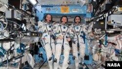 三名宇航員較早前在國際太空站上