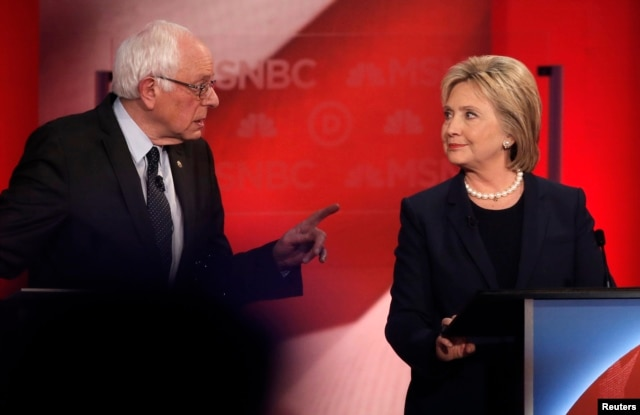 FILE: Democratic U.S. presidential candidate Senator Bernie Sanders speaks directly to former Secretary of State Hillary Clinton during the Democratic presidential candidates debate at the University of New Hampshire, Feb. 4, 2016.