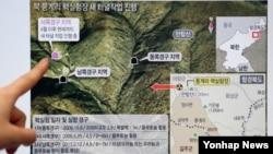 북한 전문 웹사이트인 '38노스'가 지난 6월경 촬영한 북한 풍계리 핵 실험장 위성사진 그래픽. 당시 자료 분석 결과 북한 핵 실험장에서 새로운 터널 작업이 진행되고 있다는 의혹이 제기됐다. (자료사진)