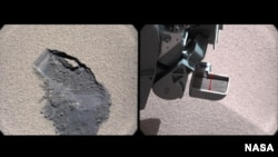 "This pair of images shows a ""bite mark"" where NASA's Curiosity rover scooped up some Martian soil (left), and the scoop carrying soil. The first scoop sample was taken from the ""Rocknest"" patch of dust and sand on Oct. 7, 2012, the 61st sol, or Martian day."