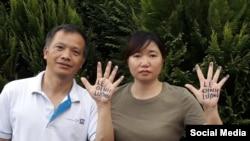 Ông Nguyễn Văn Đài và bà Vũ Minh Khánh ở Đức kêu gọi trả tự do cho ông Lê Đình Lượng. Facebook Nguyen Van Dai