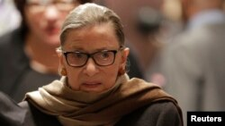 FILE - U.S. Supreme Court Justice Ruth Bader Ginsburg arrives to watch U.S. President Barack Obama's State of the Union address to a joint session of Congress in Washington, Jan. 12, 2016.