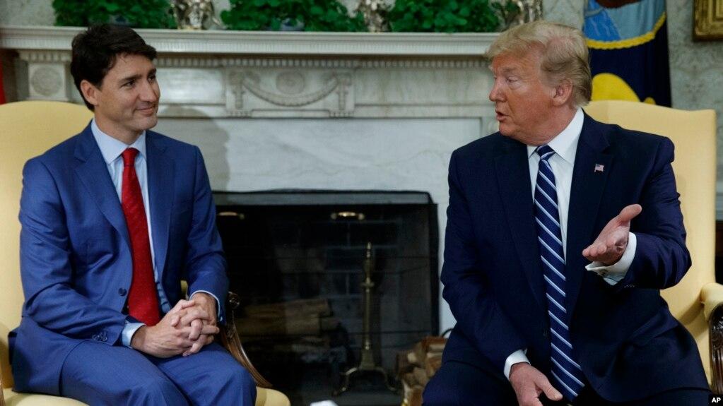 Tổng thống Mỹ Donald Trump và Thủ tướng Canada Justin Trudeau trong một cuộc gặp tại Tòa Bạch Ốc. Hình chụp hôm 20/6/19.