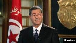 Habib Essid lors d'une conference de presse à Tunis, le 23 janvier 2015.