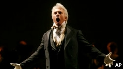 "FILE - In this Feb. 6, 2007, photo, Dmitri Hvorostovsky performs during the final dress rehearsal for the opera ""Eugene Onegin"" in New York. The beloved Russian baritone ""died peacefully"" early Wednesday morning, Nov. 22, 2017, after a long battle with cancer."