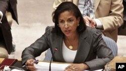 Embaixadora americana nas Nações unidas, Susan Rice, numa intervenção no Conselho de Segurança