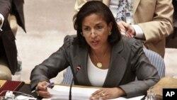 지난 8월 UN에서 발언하는 수전 라이스 유엔대사. (자료사진)