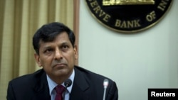 FILE - Reserve Bank of India (RBI) Governor Raghuram Rajan listens to a question at a news conference after the bi-monthly monetary policy review in Mumbai, India, June 2, 2015.