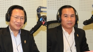 Mr. Chheang Vun, a member of parliament and a spokesman for the ruling Cambodian People's Party (left) and Mr. Un Sam An, a member of parliament from the opposition CNRP party at VOA Studio in Phnom Penh, Cambodia. (Lim Sothy/VOA Khmer)