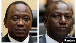 Shugaban kasar Kenya Uhuru Kenyata da mataimakinsa William Ruto a kotun kasa da kasa dake Hague kasar Holland ko Netherlands.