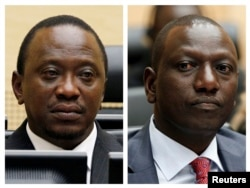 FILE - An April 2011 Combination picture shows Kenya's Uhuru Kenyatta, who was finance minister, and William Ruto, former Higher Education Minister at the International Criminal Court (ICC) in The Hague.