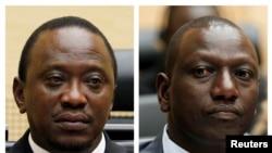 肯尼亚总统肯雅塔(做)和其副手鲁托(右)被控在2007年大选后策划暴力 (2011年4月的资料照片)