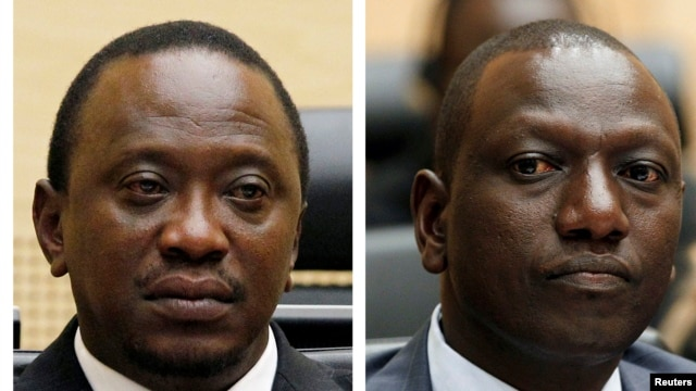 Combination picture shows Kenya's Uhuru Kenyatta, who was finance minister, and William Ruto, former Higher Education Minister at the International Criminal Court, The Hague, April 2011.