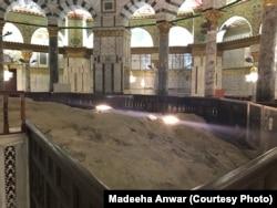 قبتہ الصخرہ میں وہ چٹان جس سے نبی ِکریم ﷺ نے معراج کی رات آسمان تک کا سفر اختیار کیا