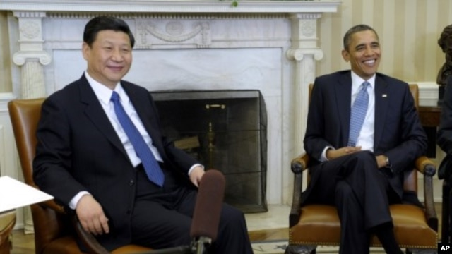 2011년 2월 백악관에서 면담한 시진핑 현 중국 국가주석(왼쪽)과 바락 오바마 미국 대통령. (자료사진)