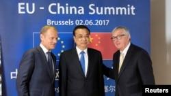 李克強(中)6月2日比利時布魯塞爾'中國與歐盟鋒會'