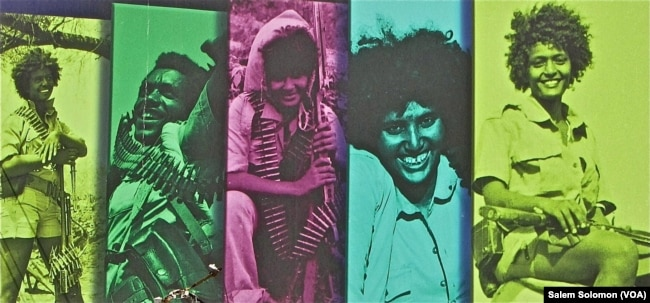 A collage of images of female soldiers displayed in Asmara, Eritrea.